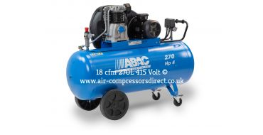 18 cfm Abac PRO A49B 270L CT4 *3 Phase 415V Supply (optional wheels)