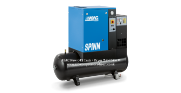 Abac Spinn E 3kw 12.9 cfm @ 10 Bar 415 Volt Tank-Dryer Mounted 200L C43 Compressor