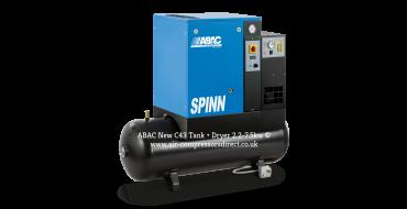 Abac Spinn E 2.2kw 10.3 cfm @ 10 Bar 240 Volt Tank-Dryer Mounted 200L C43 Compressor