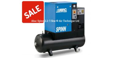 Abac Spinn E 5.5kw 21cfm @ 10 Bar 415 Volt Tank-Dryer Mounted 200L C40 Compressor