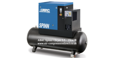 Abac Spinn XE 5.5kw 25cfm @ 10 Bar Tank-Dryer Mounted 270L C55* Compressor