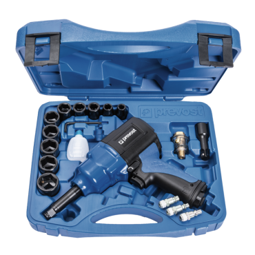 Prevost 1/2 Extended Drive Composite Air Impact Wrench - Reinforced Twin Hammer in Case