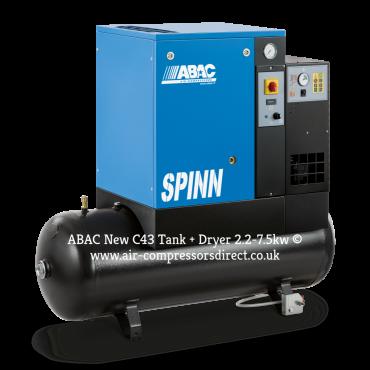 Abac Spinn E 7.5kw 34 cfm @ 10 Bar 415 Volt Tank-Dryer Mounted 200L C43 Compressor