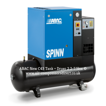 Abac Spinn E 5.5kw 27.5 cfm @ 10 Bar 270L Tank-Dryer 415 Volt C43 Compressor