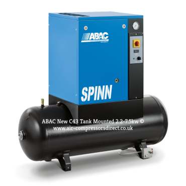 Abac Spinn 4kw 18.2 cfm @ 10 Bar 270L Tank Mounted 415 Volt C43 Compressor