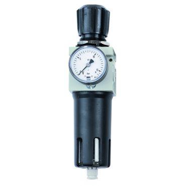 """Airnet 1/4"""" Filter - Regulator 0-12 Bar c/w Gauge Manual Drain"""