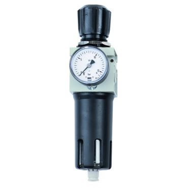 """Airnet 1"""" Filter - Regulator 0-12 Bar 20 Micron c/w Gauge Manual drain"""