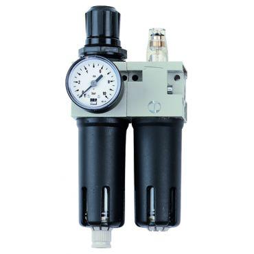 AIRnet 3/8 bsp Filter - Regulator - Lubricator - Gauge Set Manual Drain
