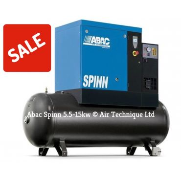 Abac Spinn E 11kw 57cfm @ 8 Bar Tank-Dryer Mounted 270L C55* Compressor