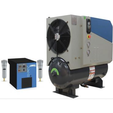 SCR 15PM2 + Dryer 8 bar 62 cfm Permanent Magnet variable Speed 11kw Rotary screw Air Compressor