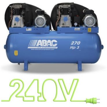 28cfm Abac PRO A39B 270L FM3 Tandem * Single phase run off a 32 Amp supply