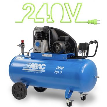 15 cfm Abac PRO A49B 200L CM3 *1 Phase 16amp Supply (with optional wheels)
