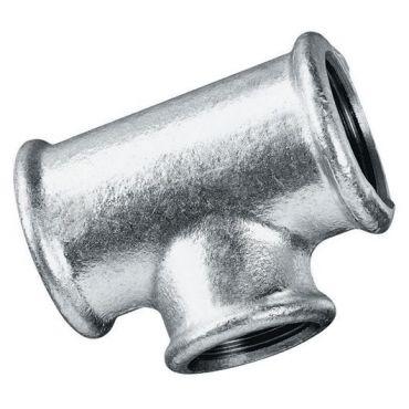 """1-1/4"""" bsp Equal Tee Female Thread Malleable Iron Galvanised"""