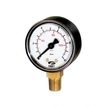 G1/4 Pressure Gauge 63mm Dia. 0-20bar/psi Bottom Entry