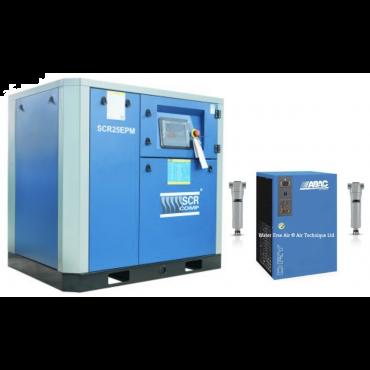 SCR 25EPM + Dryer Variable Speed Compressor 130 cfm @ 7 bar 18.5kw Floor Mounted