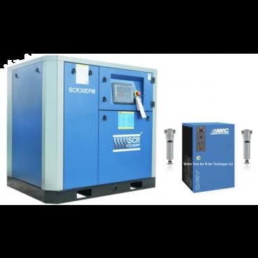 SCR 30EPM + Dryer Variable Speed Compressor 148 cfm @ 7 bar 22kw Floor Mounted