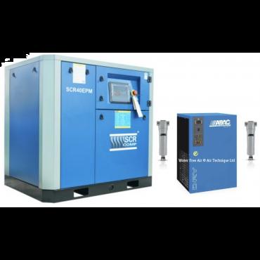 SCR 40EPM + Dryer Variable Speed Compressor 218 cfm @ 7 bar 30kw Floor Mounted