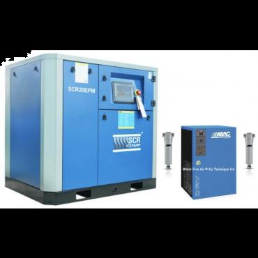 SCR 20EPM + Dryer Variable Speed Compressor 105 cfm @ 7 bar 15kw Floor Mounted