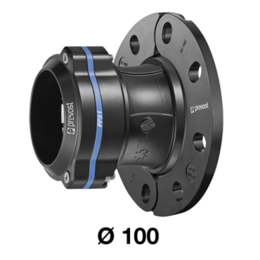 Prevost 100mm Straight Aluminum Fitting with Flange
