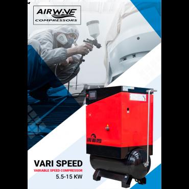 Airwave Vari-Speed Permanent Magnet 5.5kw 25 cfm @ 10 Bar 300L Tank Mounted + Free Options