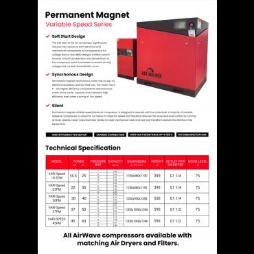 Airwave Vari-Speed Permanent Magnet 37kw + dryer 230 cfm @ 7 Bar + Free Options