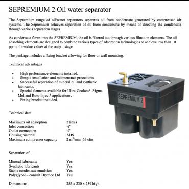 65 cfm Sepremium  Oil-Water Separator for Treating Condensate