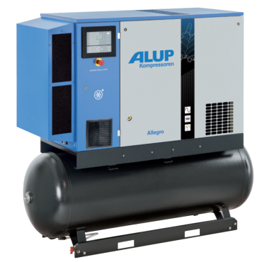 Alup Allegro 8 Variable Speed 44.1 cfm @ 7 bar 7.5kw Tank+Dryer Mounted